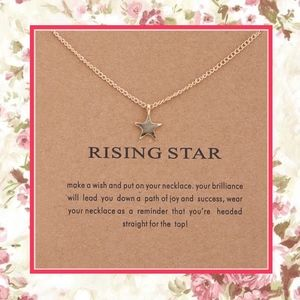🌺 New Gold Rising Wish Star Necklace Message